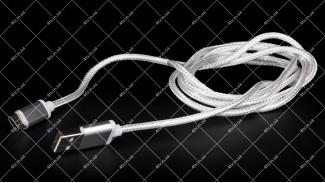 Кабель USB 2.0 AM Type-C SERTEC белый тканевая оплетка 1.0 метр
