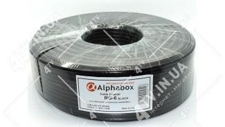 Кабель коаксиальный Alphabox RG-6 100 метров 75 Ом черный