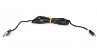 Кабель USB 2.0 AM - Type-C ERTEC чёрный тканевая оплетка 1.0 метр