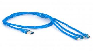 Шнур 3в1 USB 2.0 AM - Micro-B/iPhone Lightning/Type-C синий, 1.0 м.