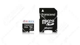 Карта памяти 64GB microSDHC UHS-I Transcend Premium class 10 adapter SD