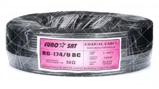 Кабель коаксиальный EUROSAT RG-174/U 100 метров 50 Ом