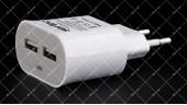 Адаптер сетевой SERTEC 220В / USB 5V=2.1A 2 порта