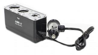 Разветвитель автоприкуривателя WF-0023 на 2 гнезда + 2 USB c кабелем