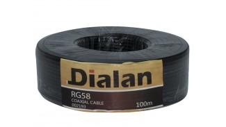 Кабель коаксиальный Dialan RG-58 Cu 100 метров 50 Ом черный