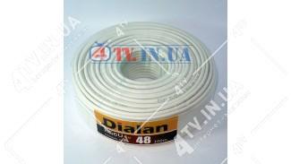 Коаксиальный кабель DIALAN RG6U Cu 48W (100 м.) 75 Ом белый