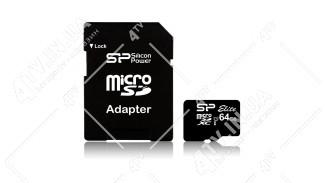 microSDXC (UHS-1) SiliconPower Elite 64Gb class 10 + adapter SD (SP064GBSTXBU1V10-SP)