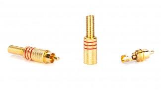Штекер RCA gold под винт красный