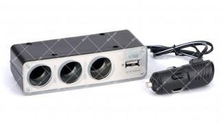 Разветвитель автоприкуривателя на 3 гнезда + гнездо USB c кабелем