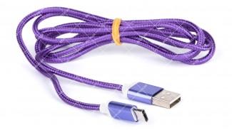 Шнур USB 2.0 AM - Type-C 1.0 м. SERTEC фиолетовый, тканевая оплетка