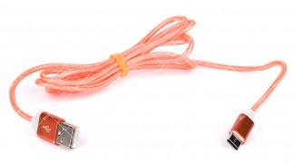 Кабель USB 2.0 AM Type-C SERTEC оранжевый тканевая оплетка 1.0 метр