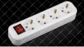 Блок розеток для удлинителя 220V 16А на 4 гнезда с заземлением + выключатель